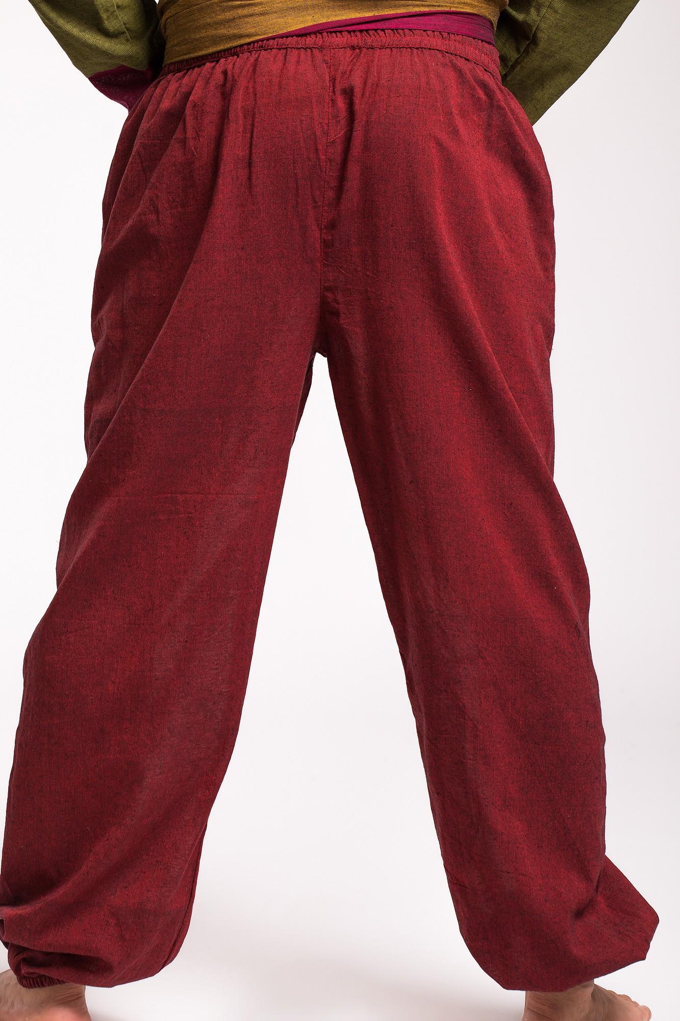 Pantaloni din bumbac visinii