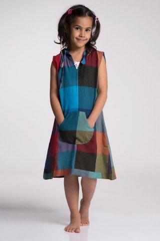 Rochie copii carouri multicolore si gluga
