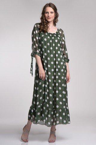 Rochie lunga din matase verde cu buline