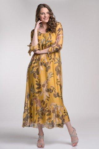Rochie lunga din matase galbena cu imprimeu floral