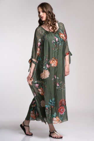 Rochie lunga din matase verde cu imprimeu floral