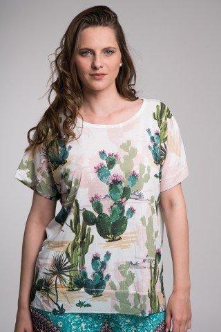 Bluza alba cu imprimeu cactusi