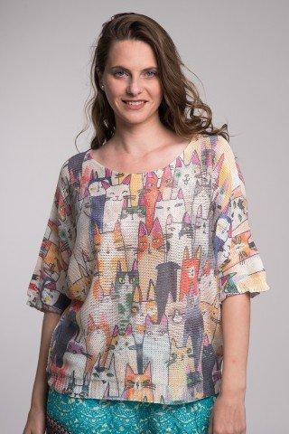 Bluza maneca trei sferturi cu pisici multicolore
