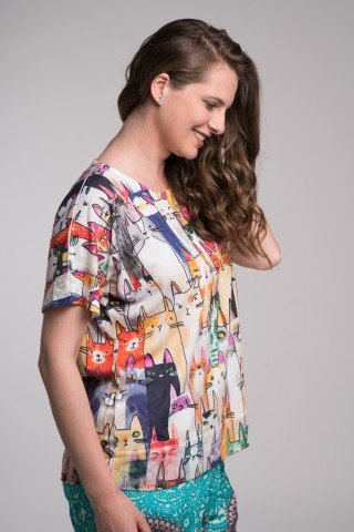 Bluza multicolora cu pisici full print