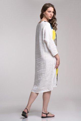 Rochie asimetrica din in alb cu imprimeu multicolor