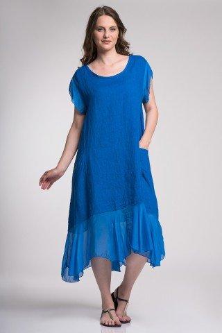 Rochie albastra din in cu volan de matase