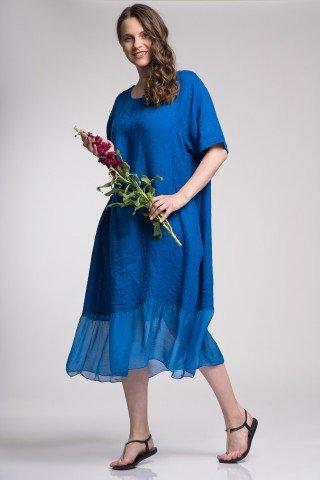 Rochie albastra din in cu volan de matase si buzunare