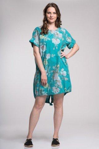 Rochie Ariana turcuoaz cu imprimeu floral si snur din polin