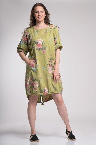 Rochie Ariana verde cu imprimeu floral si snur din poplin