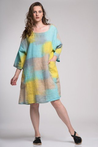 Rochie din in Taisa imprimeu tie-dye pastel