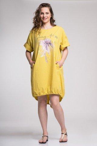 Rochie Ariana galbena cu print argintiu si floare din poplin