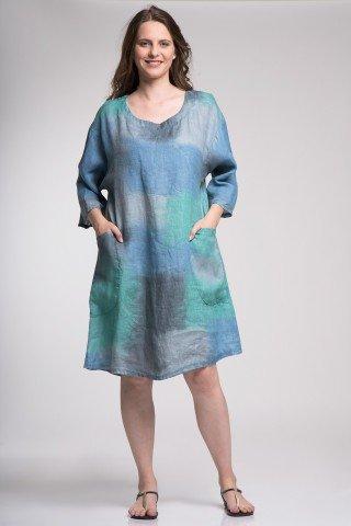 Rochie din in Amedeea cu imprimeu tie dye