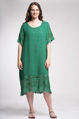 Rochie verde din in cu dantela