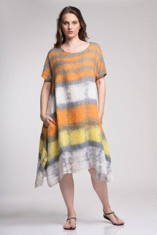 Rochie din in cu dantela in colturi cu imprimeu tie-dye