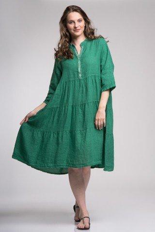 Rochie verde de in cu volane si fir argintiu