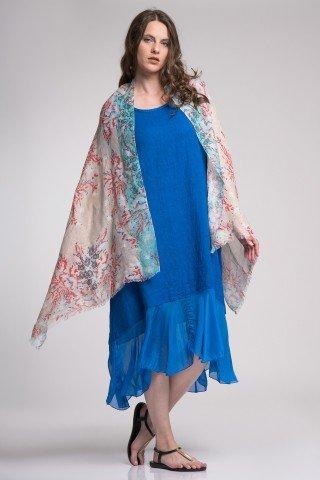 Esarfa bej cu blue cu imprimeu floral din in