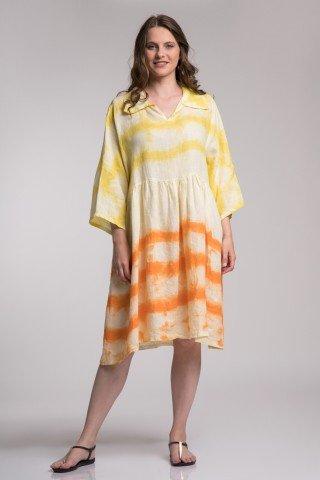 Rochie din in  imprimeu tie-dye  galben si portocaliu