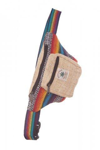 Borseta multicolora din bumbac si canepa