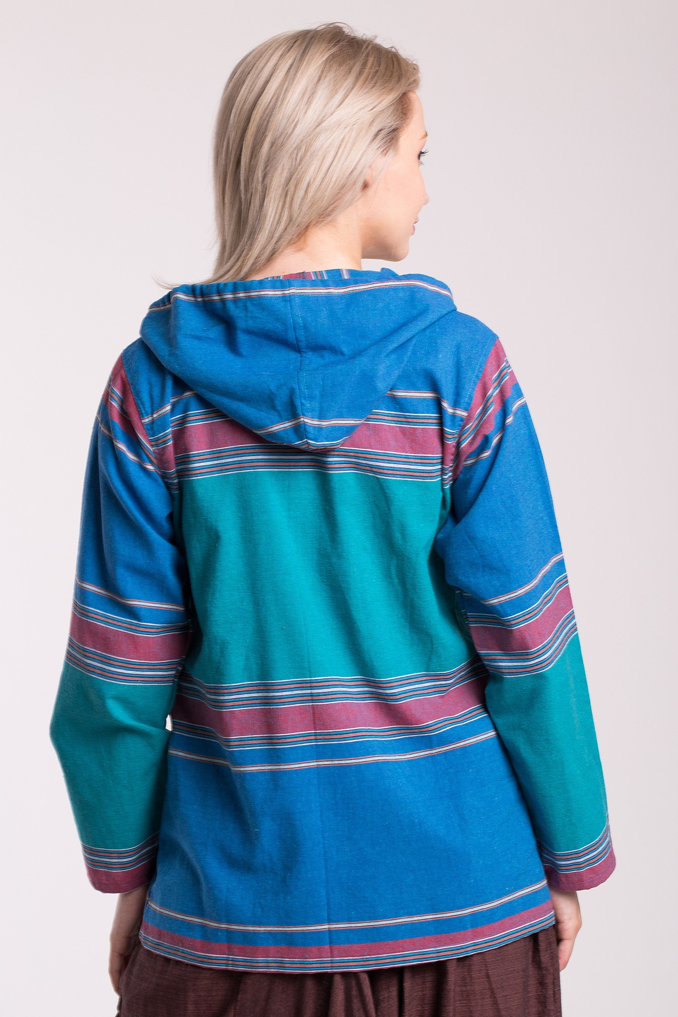 Jacheta din bumbac albastra cu gluga