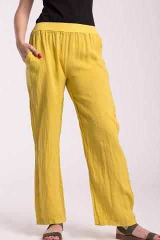 Pantaloni din in lungi galbeni