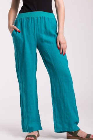 Pantaloni turcoaz lungi din in