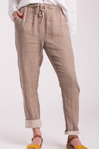Pantaloni conici cu dungi capucino din in