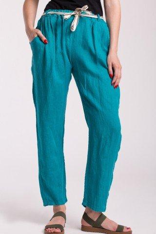 Pantaloni conici din in turcoaz