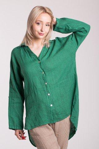 Camasa verde din in asimetrica cu guler