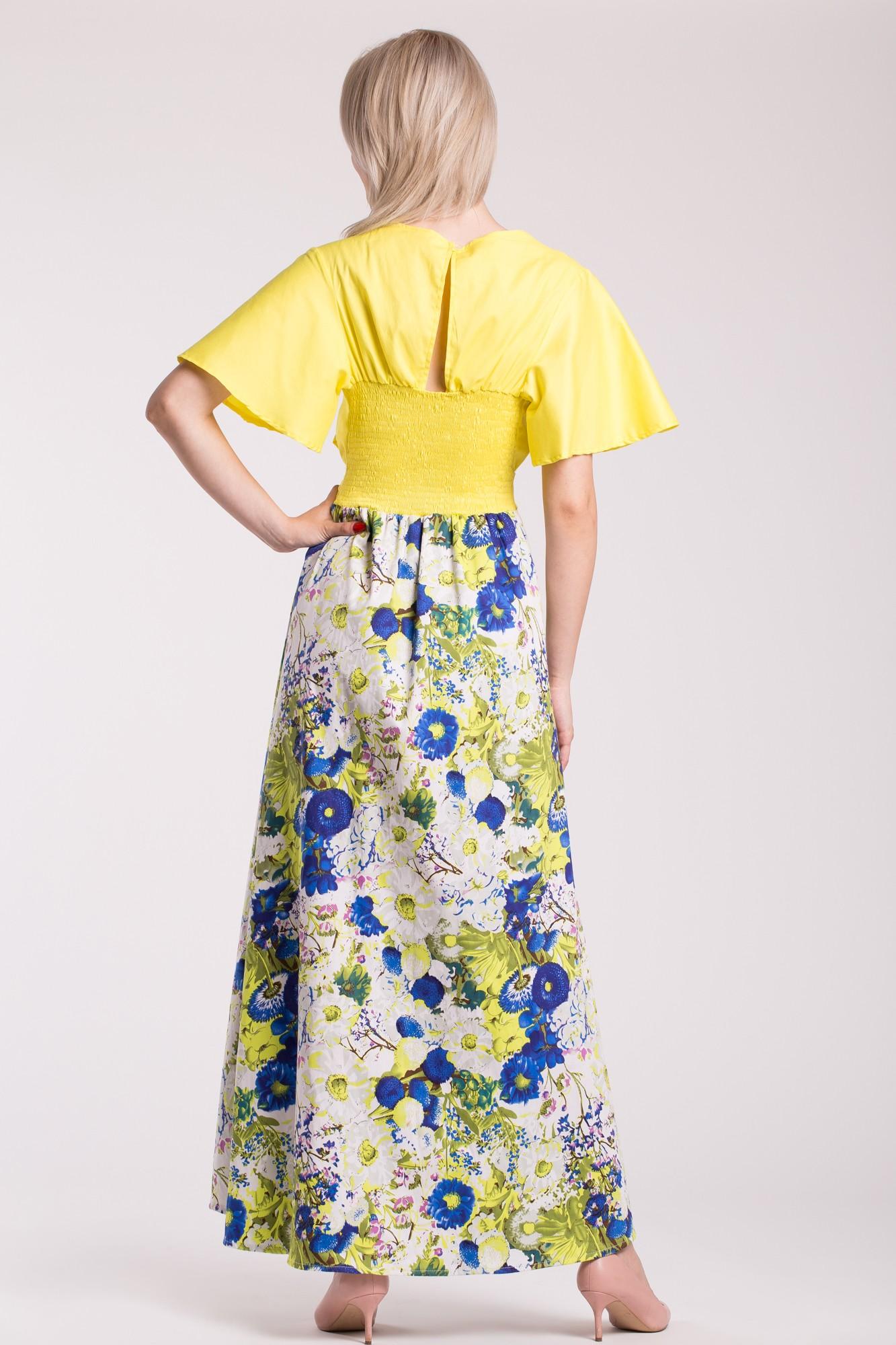 Rochie eleganta Yellow Summer cum imprimeu floral