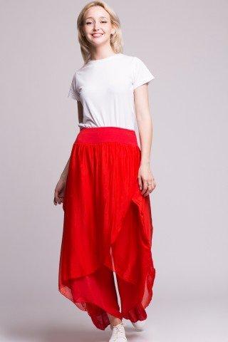 Pantaloni rosii din matase si vascoza tip lalea