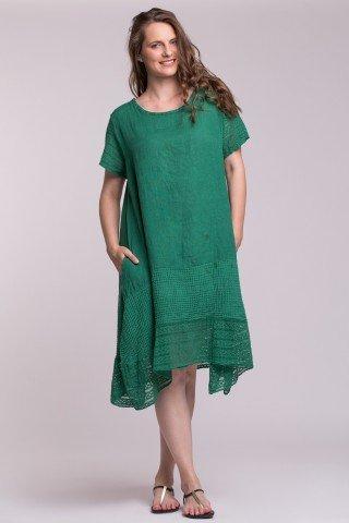 Rochie verde din in cu insertie din dantela si slituri laterale