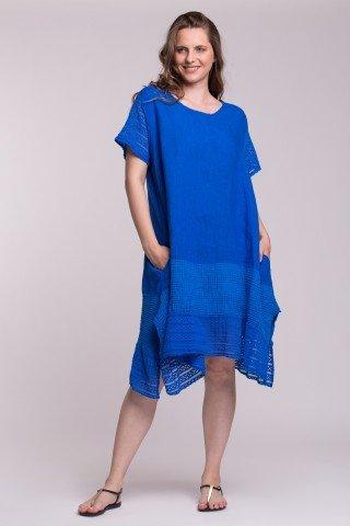 Rochie albastra din in cu insertii din dantela si buzunare