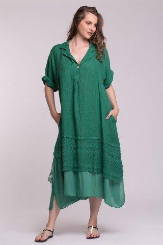 Rochie verde cu guler din in, vascoza si dantela