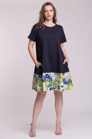 Rochie din bumbac bleumarin cu bordura din poplin cu imprimeu floral