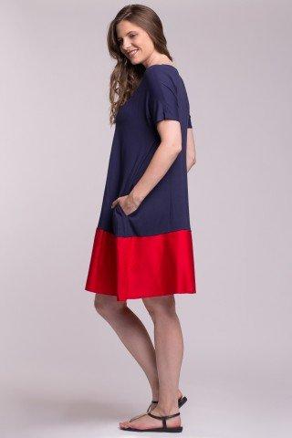 Rochie supradimensionata tricot bleumarin cu bordura din poplin rosu