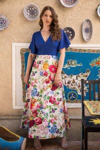 Rochie eleganta Electric Blue cu imprimeu floral
