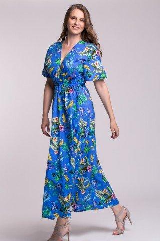 Rochie lunga eleganta albastra cu elastic in talie si imprimeu tropical