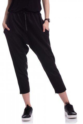 HALF MOON Pantaloni trei sferturi din in si bumbac cu buzunare laterale