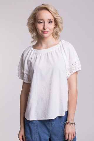 Bluza alba din in cu broderie perforata Milly