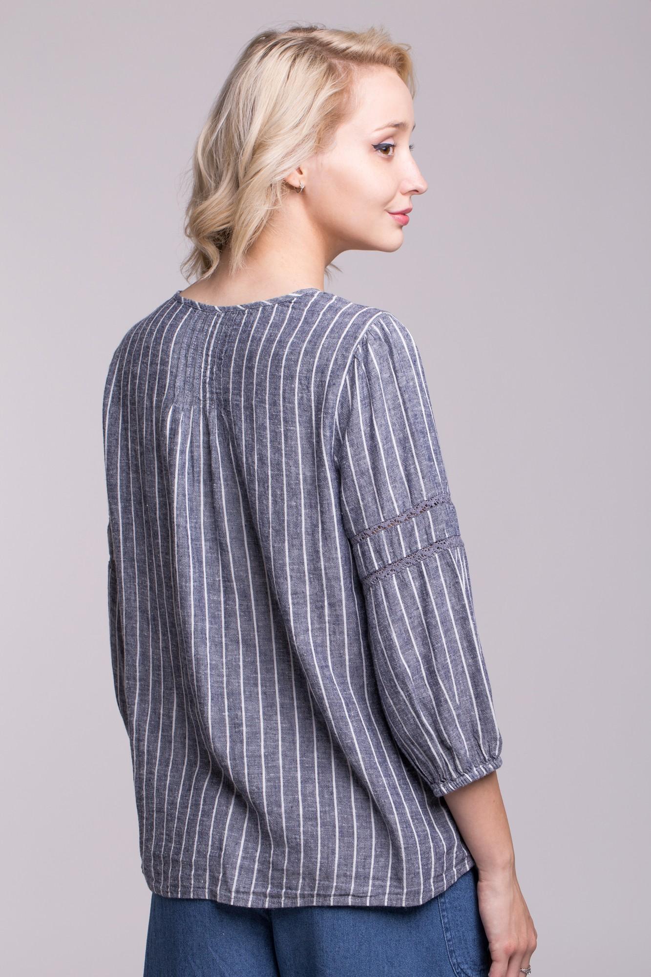 Bluza din in în dungi cu insertie dantela si nasturi