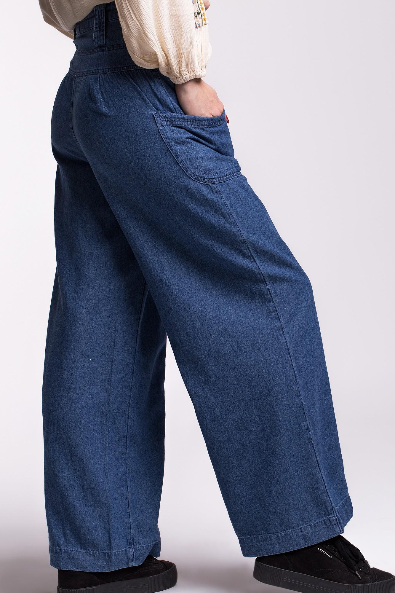 Pantaloni largi denim subtire cu talie inalta