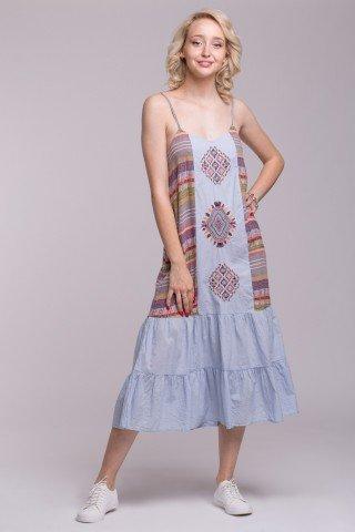 Rochie bleu cu bretele, imprimeu si broderie multicolore