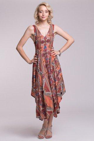 Rochie boho din vascoza cu patru colturi, bretele late si imprimeu multicolor