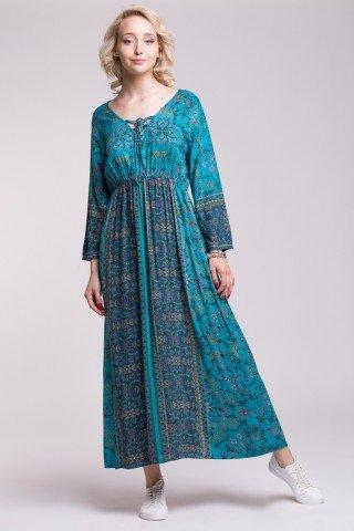 Rochie boho din vascoza cu elastic in talie, decolteu cu snur si imprimeu Bohemian Blue