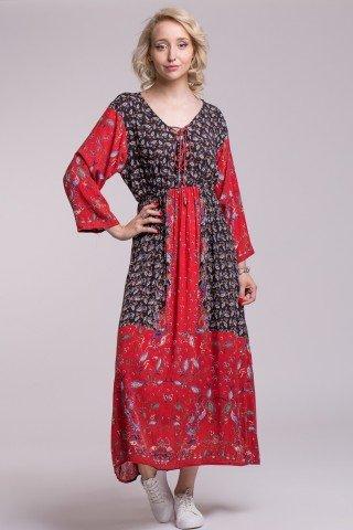 Rochie lunga boho din vascoza cu elastic in talie si imprimeu Boho Red