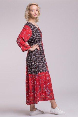 Rochie lunga boho din vascoza cu elastic in talie si imprimeu Angy