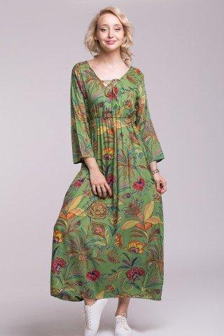 Rochie verde cu imprimeu floral si elastic in talie