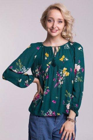 Bluza verde inchis din vascoza cu imprimeu floral