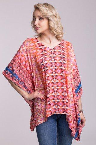 Bluza tip poncho multicolor cu imprimeu geometric