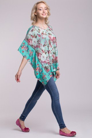 Bluza tip poncho verde deschis cu imprimeu floral